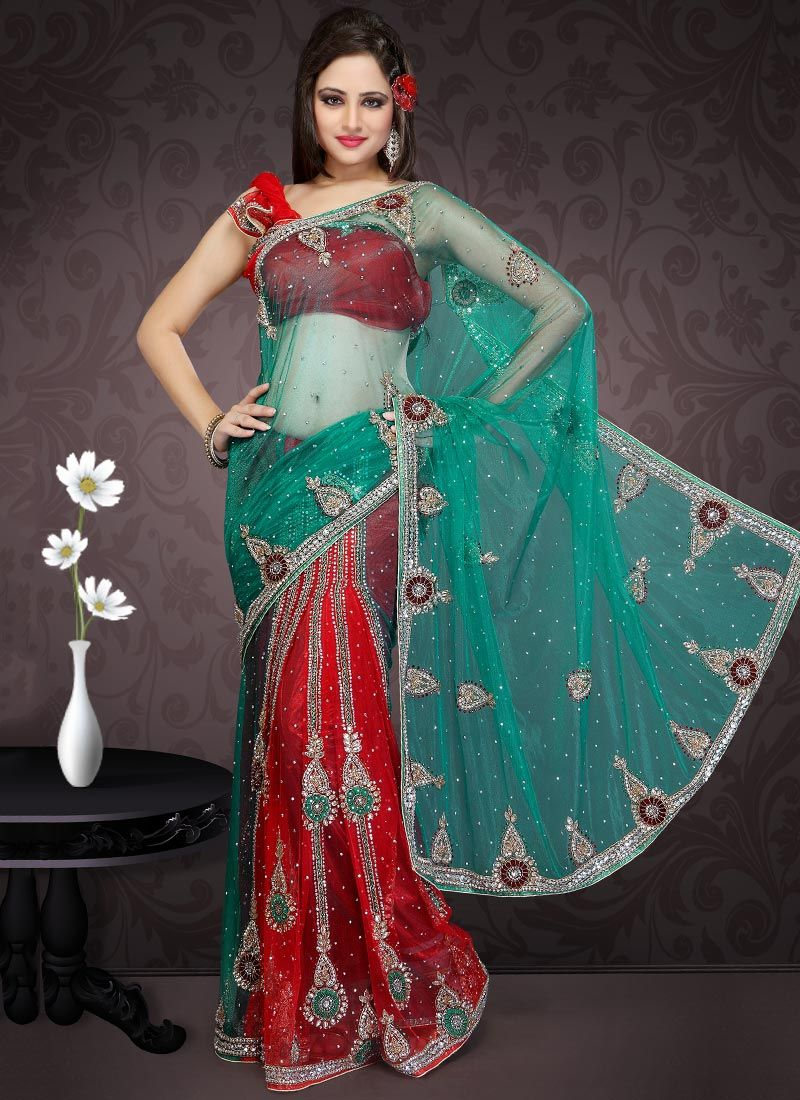 Turquoise and Red Net Lehenga Saree