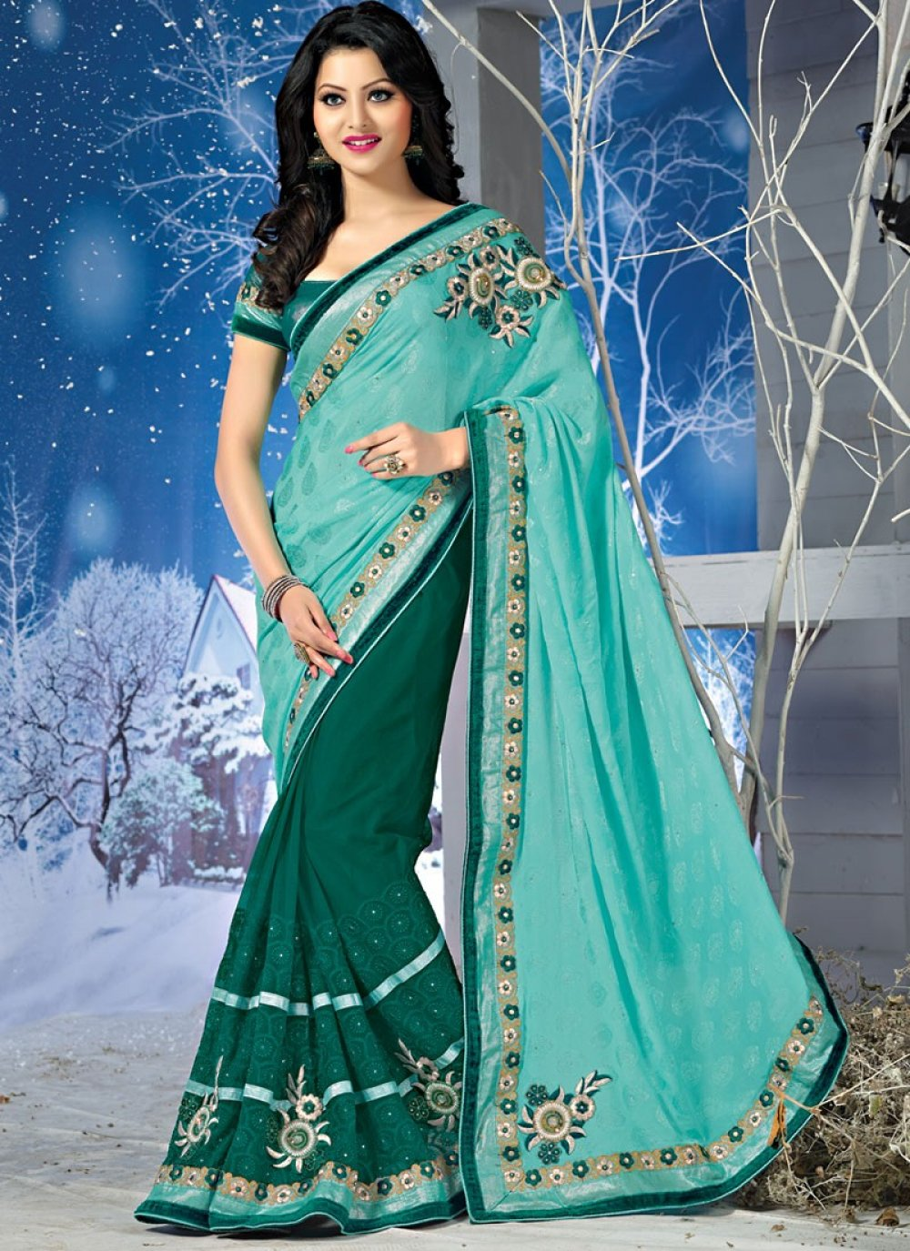 Turquoise And Sea Green Embroidery Pure Chiffon Jacquard Saree