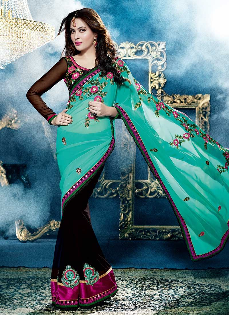 Turquoise Blue And Black Embroidered Work Saree