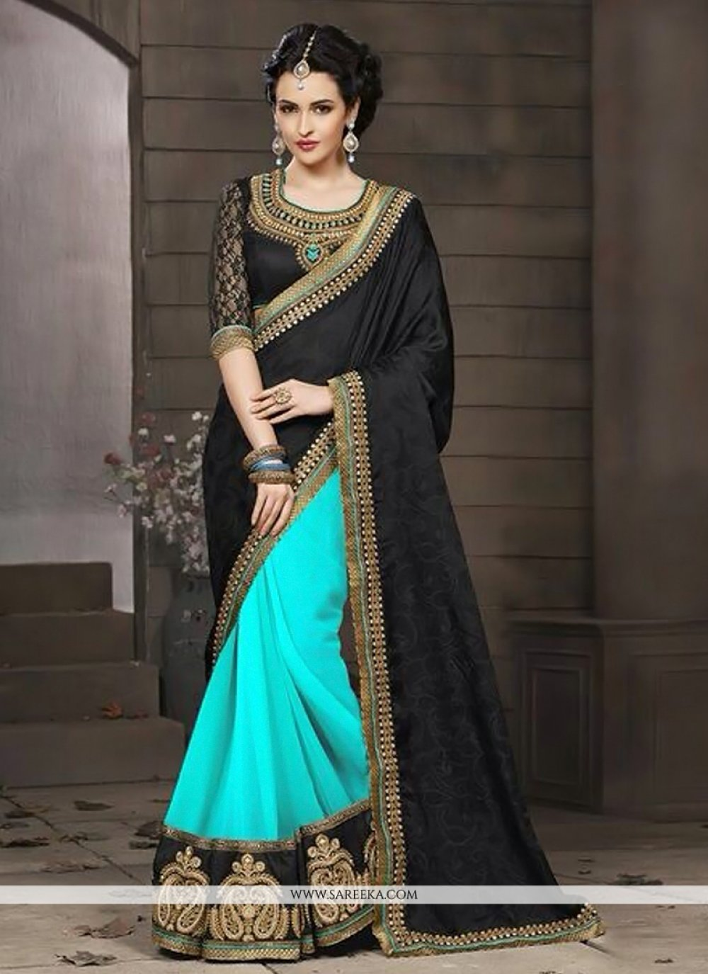 Turquoise Blue And Black Zari Jacquard Designer Saree