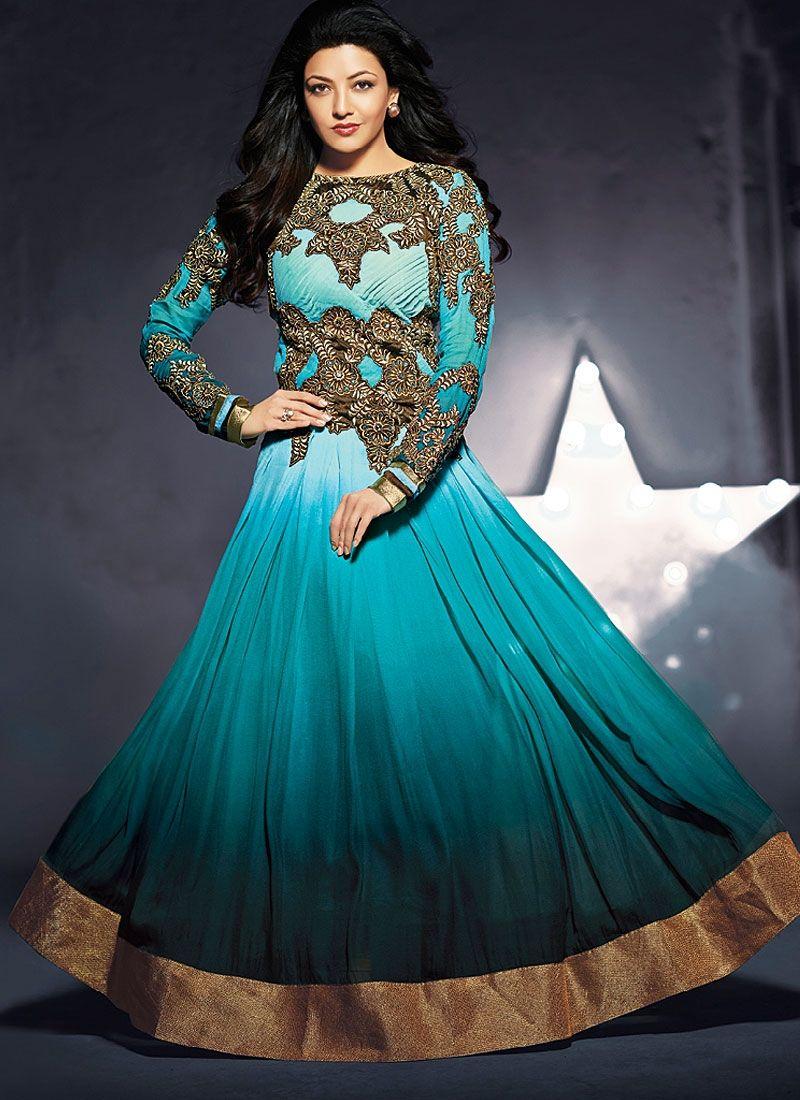 Turquoise Blue And Black Zari Work Anarkali Salwar Suit