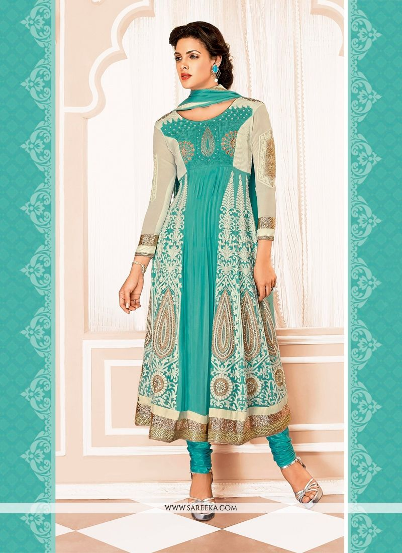 Turquoise Blue And Cream Georgette Anarkali Suit