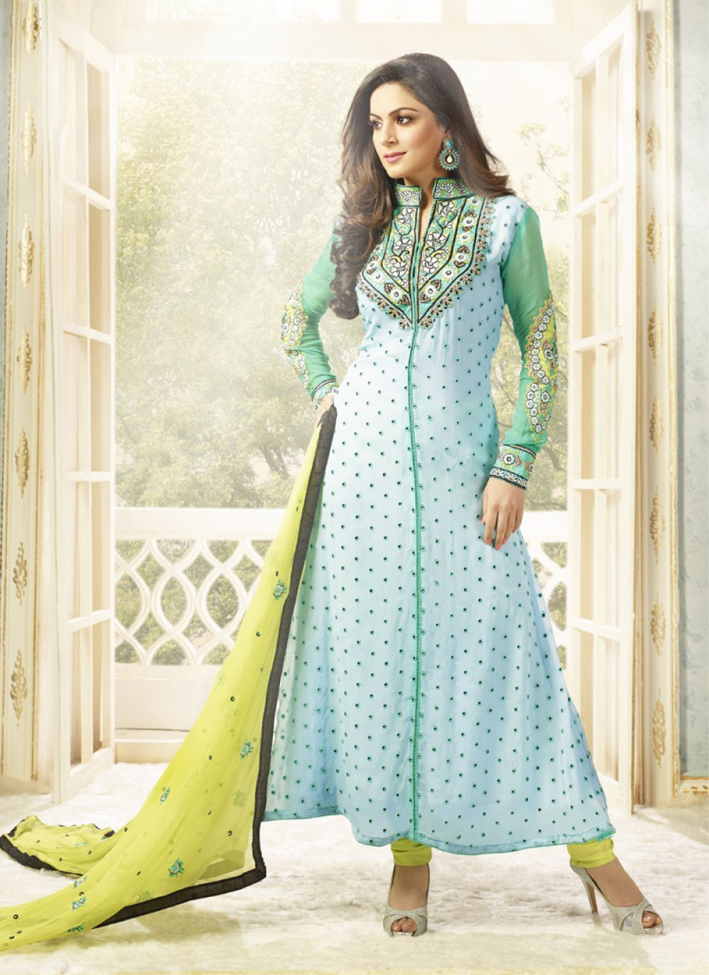 Turquoise Blue And Green Embroidery Work Anarkali Suit