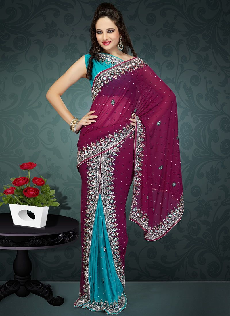 Turquoise Blue and Magenta Lehenga Style Saree