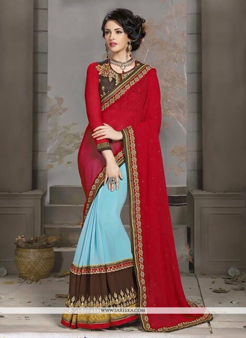 Turquoise Blue And Red Georgette Designer Saree