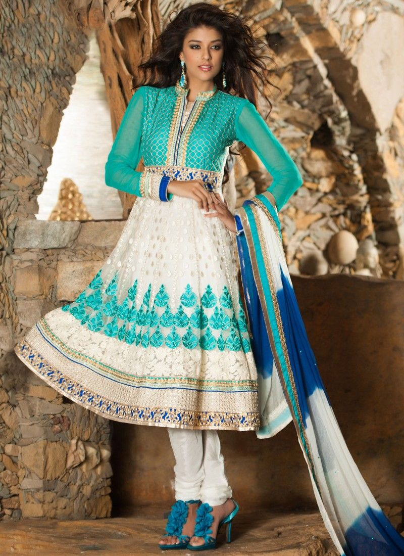 Turquoise Blue And White Net Churidar Suit