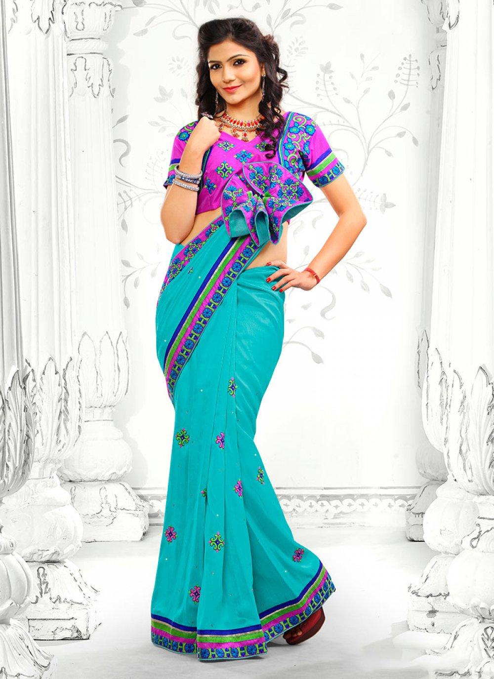 Turquoise Blue Bhagalpuri Silk Designer Saree