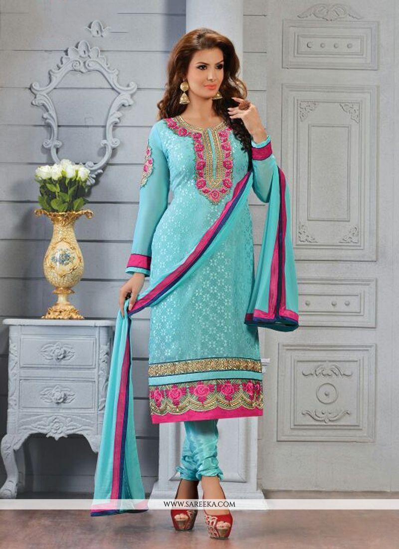 Turquoise Blue Brasso Churidar Salwar Kameez