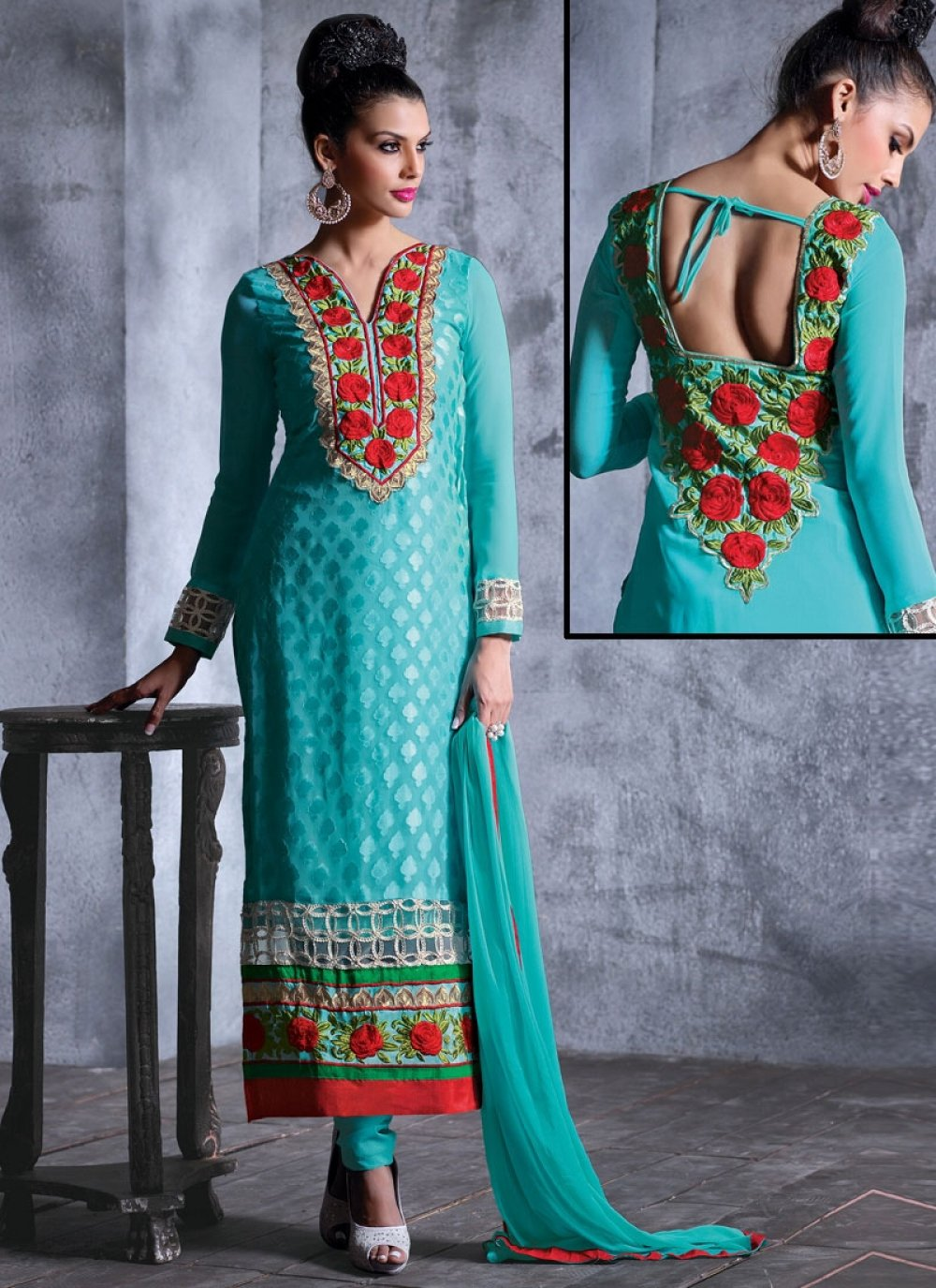 Turquoise Blue Brasso Georgette Churidar Suit
