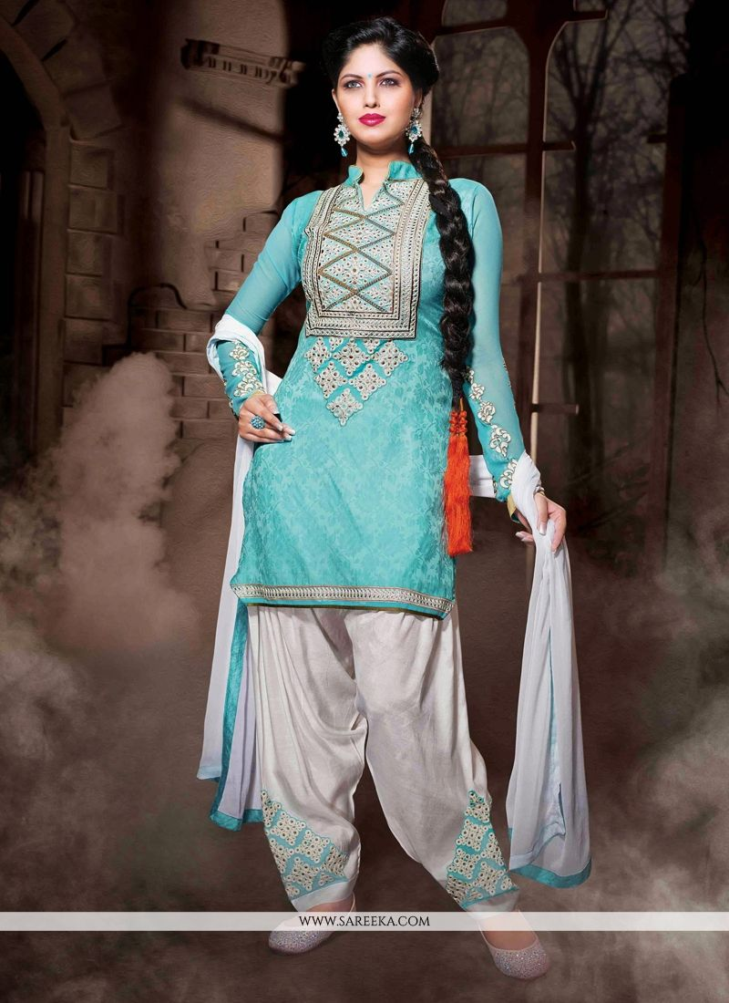 Turquoise Blue Cotton Silk Punjabi Suit -