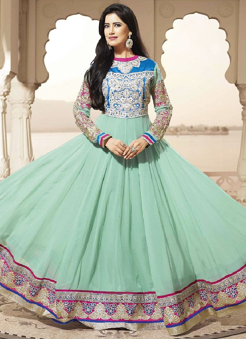 Turquoise Blue Embroidery Enhanced Long Anarkali Suit
