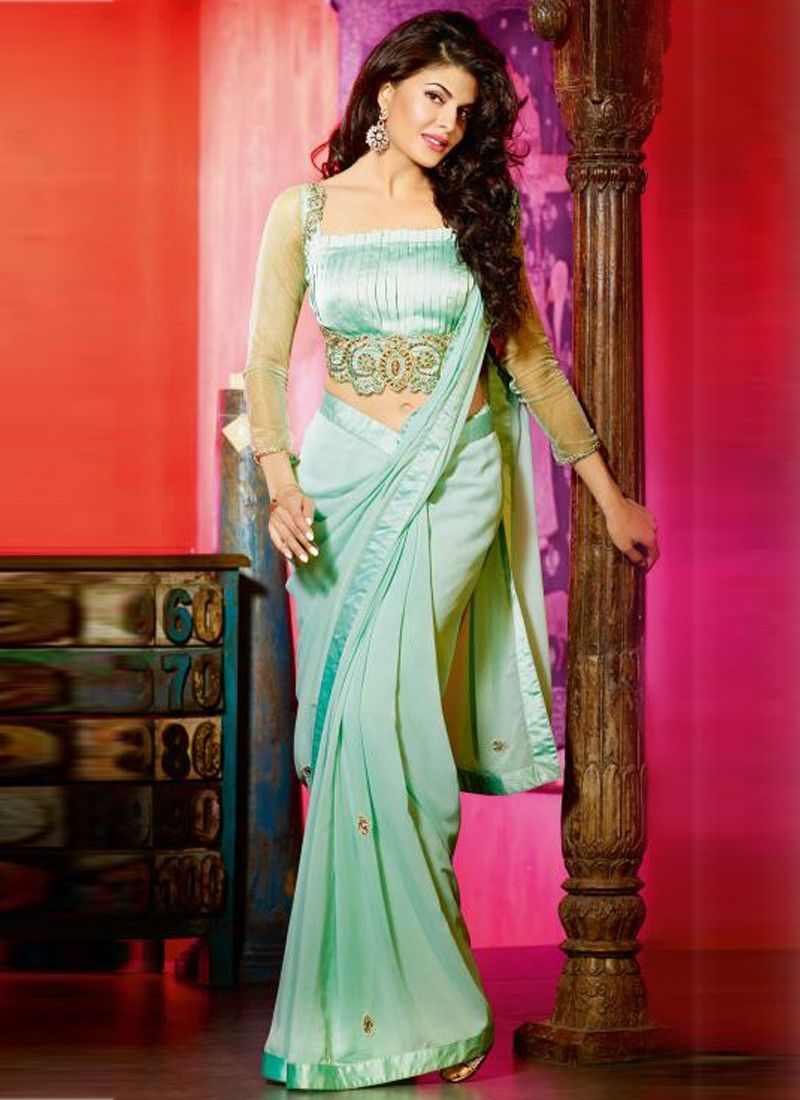 Turquoise Blue Embroidery Work Designer Saree