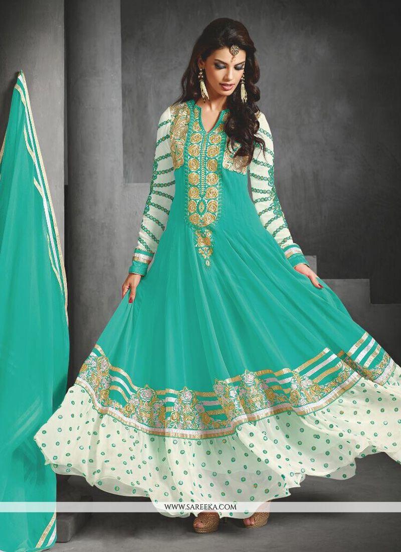 Turquoise Blue Faux Georgette Salwar Suit