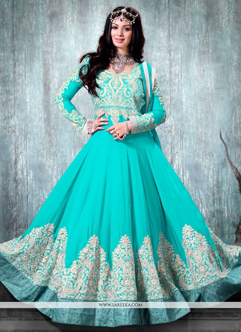Turquoise Blue Georgette And Art Silk Anarkali Salwar Suit