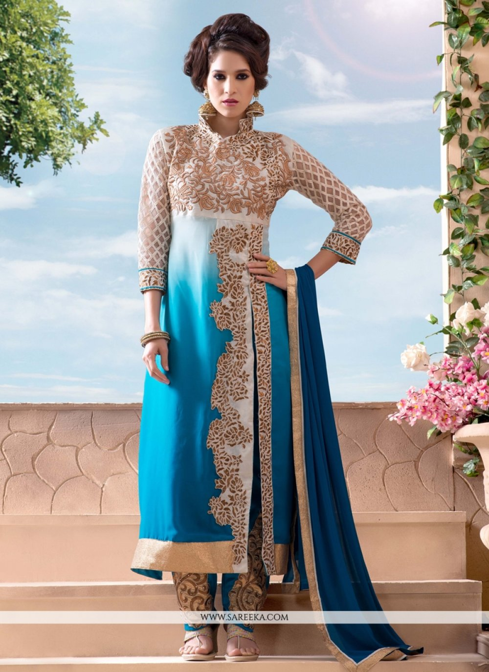 Turquoise Blue Georgette Pant Style Salwar Suit