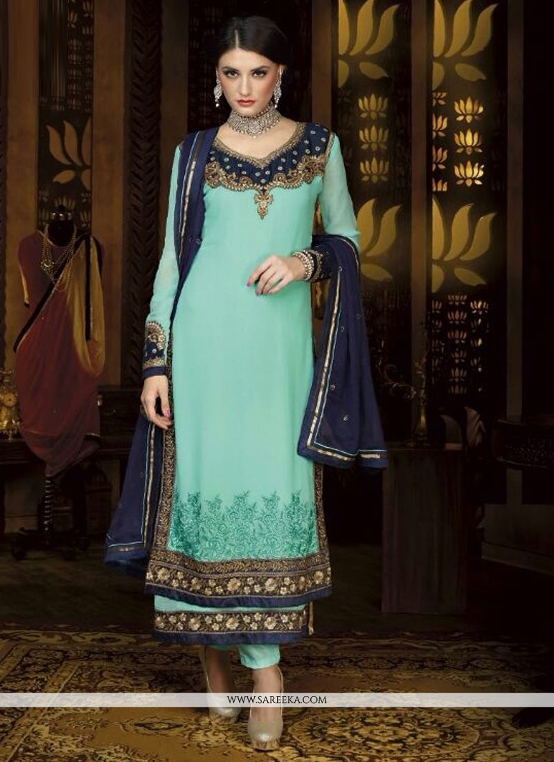 Turquoise Blue Georgette Pant Style Suit