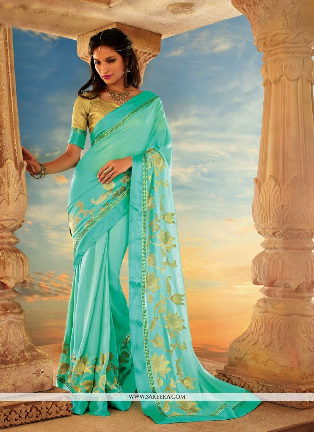 Turquoise Blue Georgette Party Wear Saree