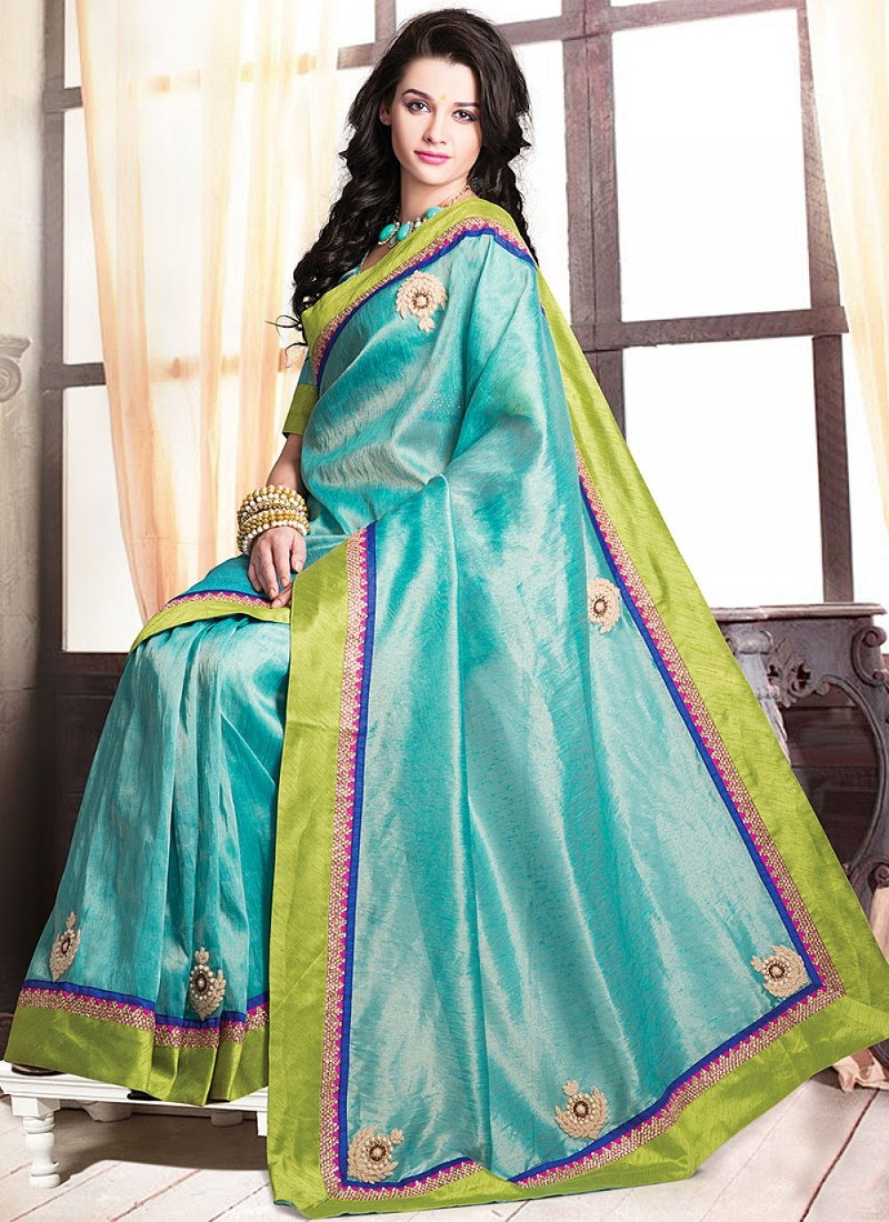 Turquoise Blue Jute Party Wear Saree