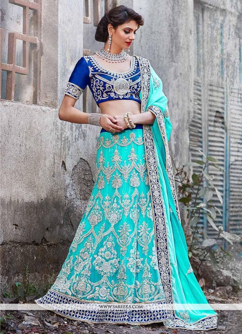 Turquoise Blue Net Bridal Lehenga Choli