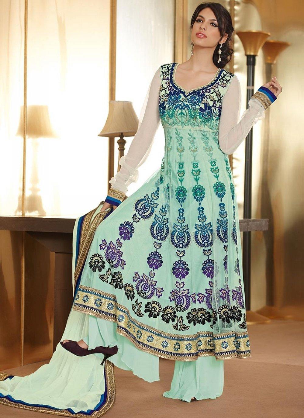 Turquoise Blue Net Designer Anarkali Suit