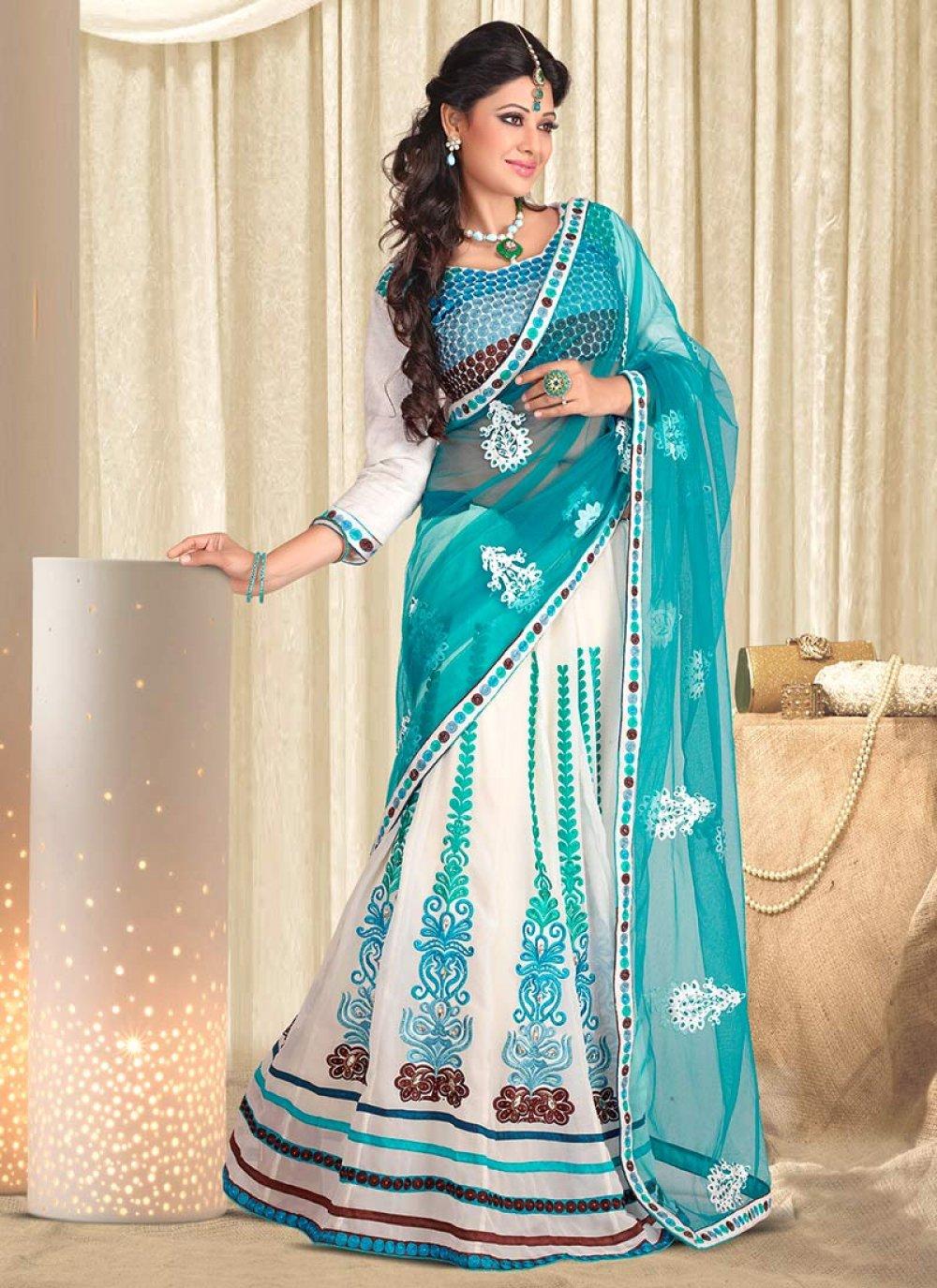 Turquoise Blue Net Georgette Lehenga Saree