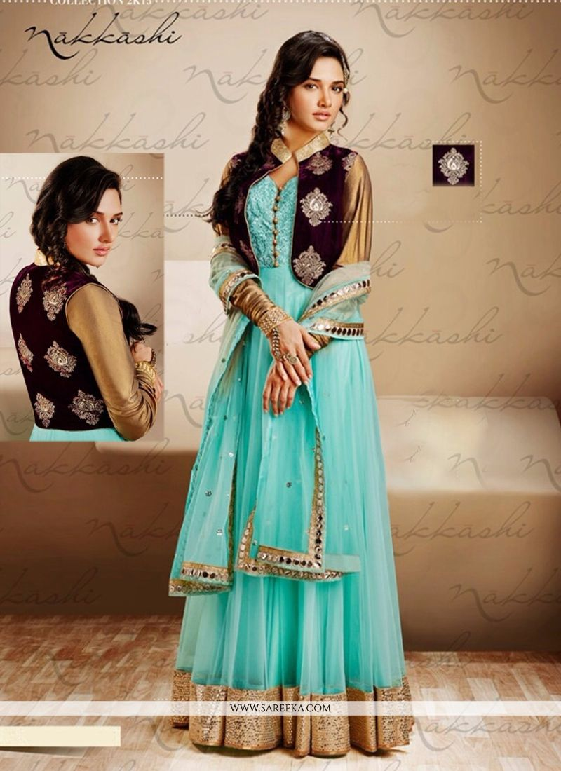Turquoise Blue Net Jacket Style Anarkali Suit -