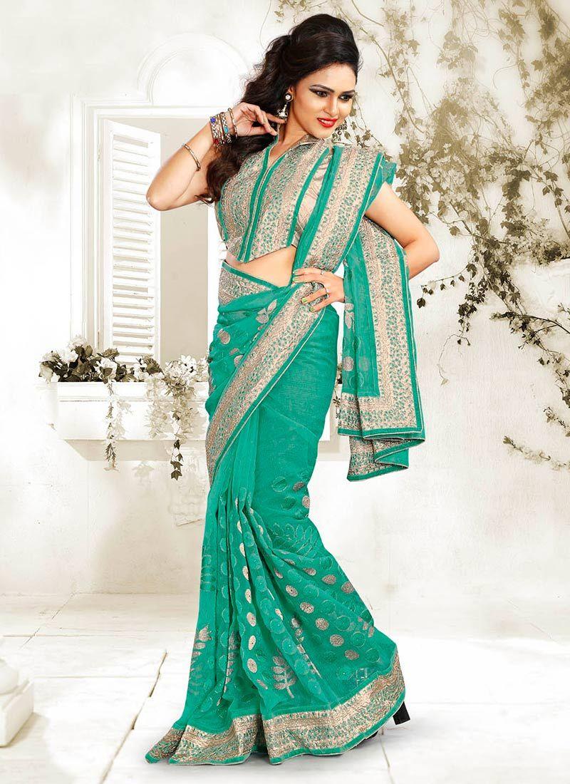Turquoise Blue Net Saree