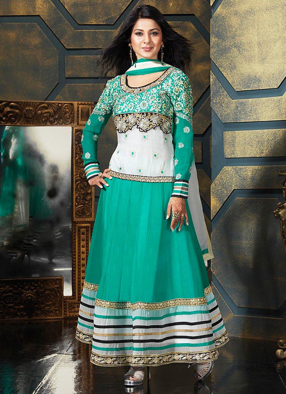 Turquoise Blue Patch Border Work Anarkali Salwar Suit