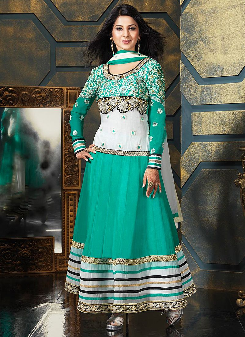 Turquoise Blue Patch Border Work Anarkali Salwar Suit