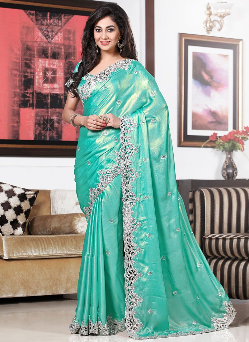 Turquoise Blue Patch Border Work Casual Saree