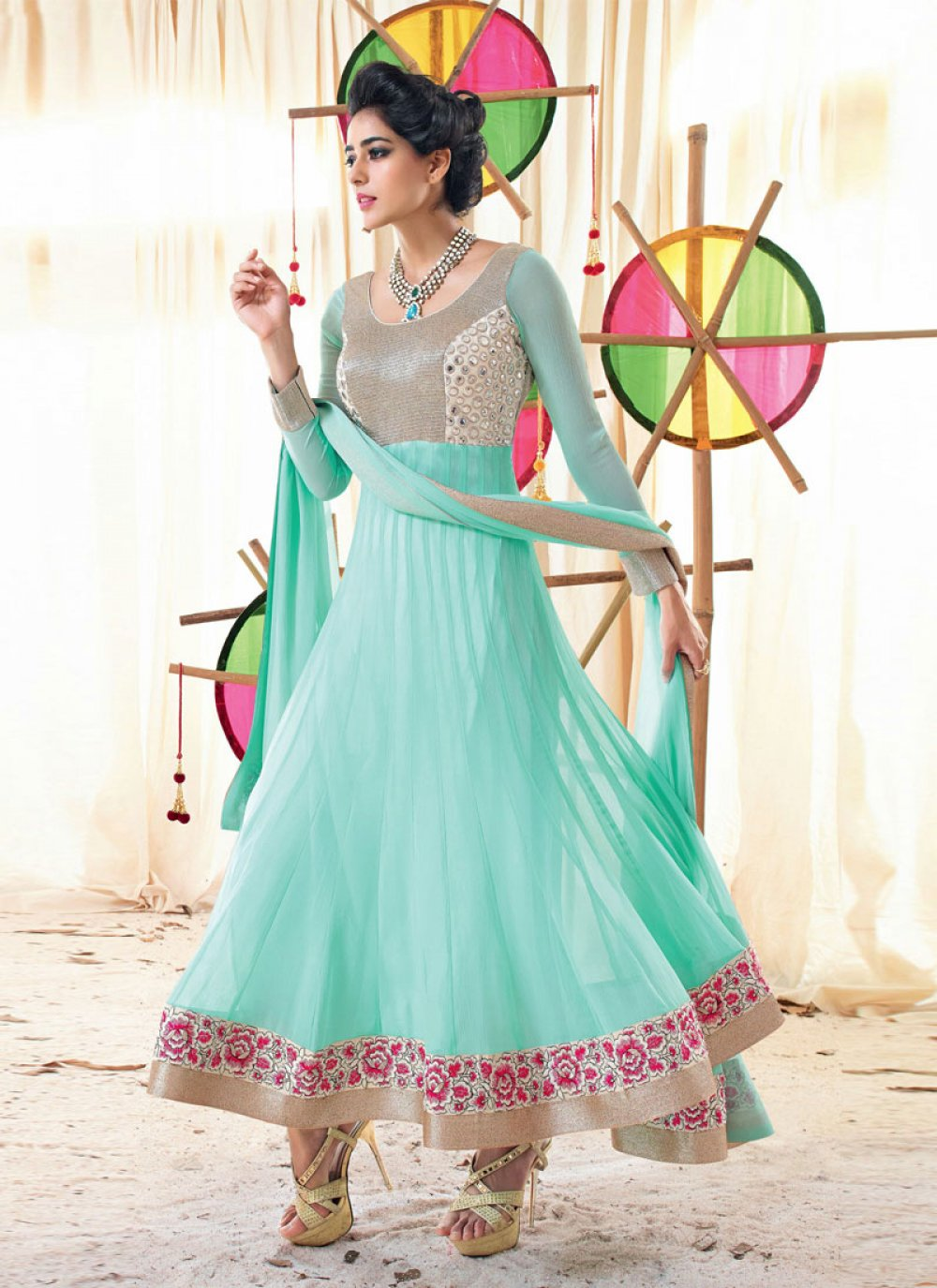 Turquoise Blue Patch Border Work Holiday Movie Anarkali Suit