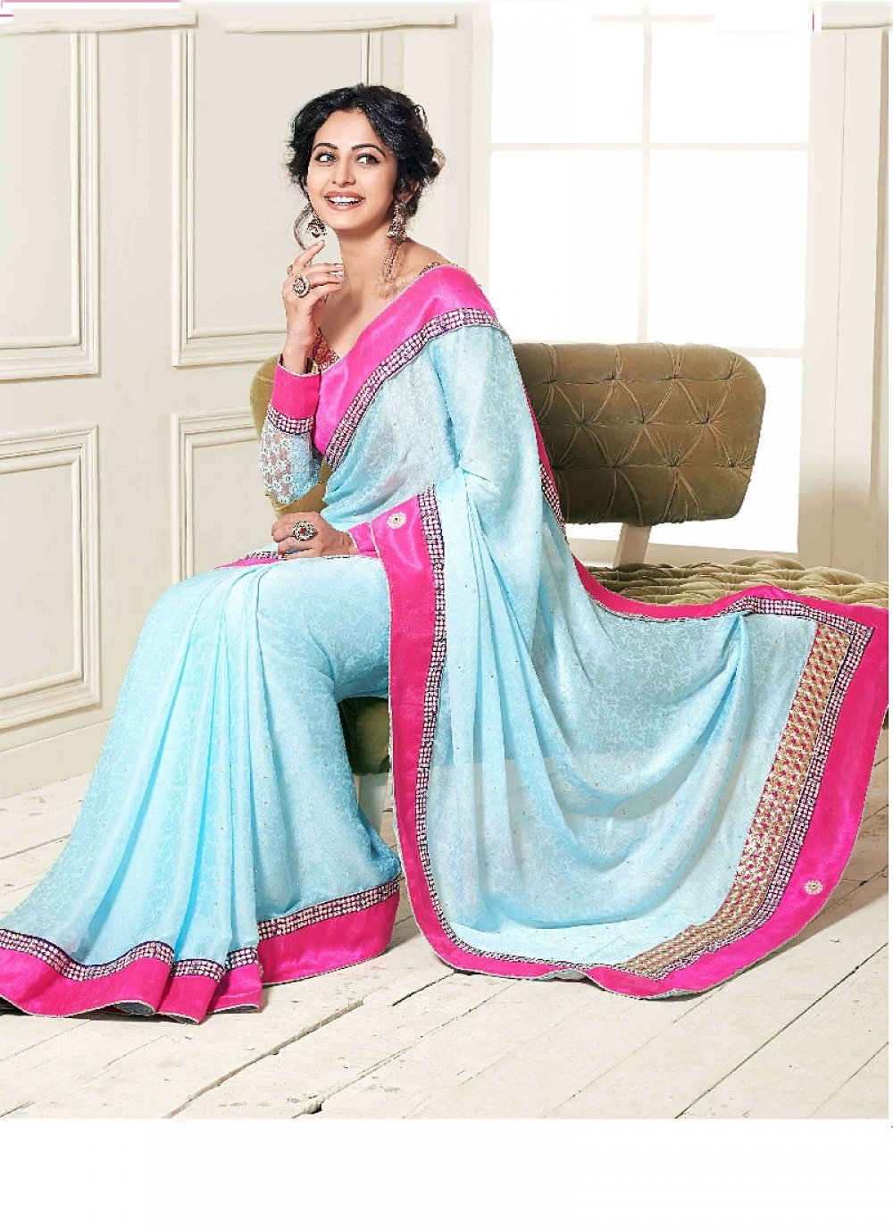 Turquoise Blue Patch Border Work Satin Designer Saree