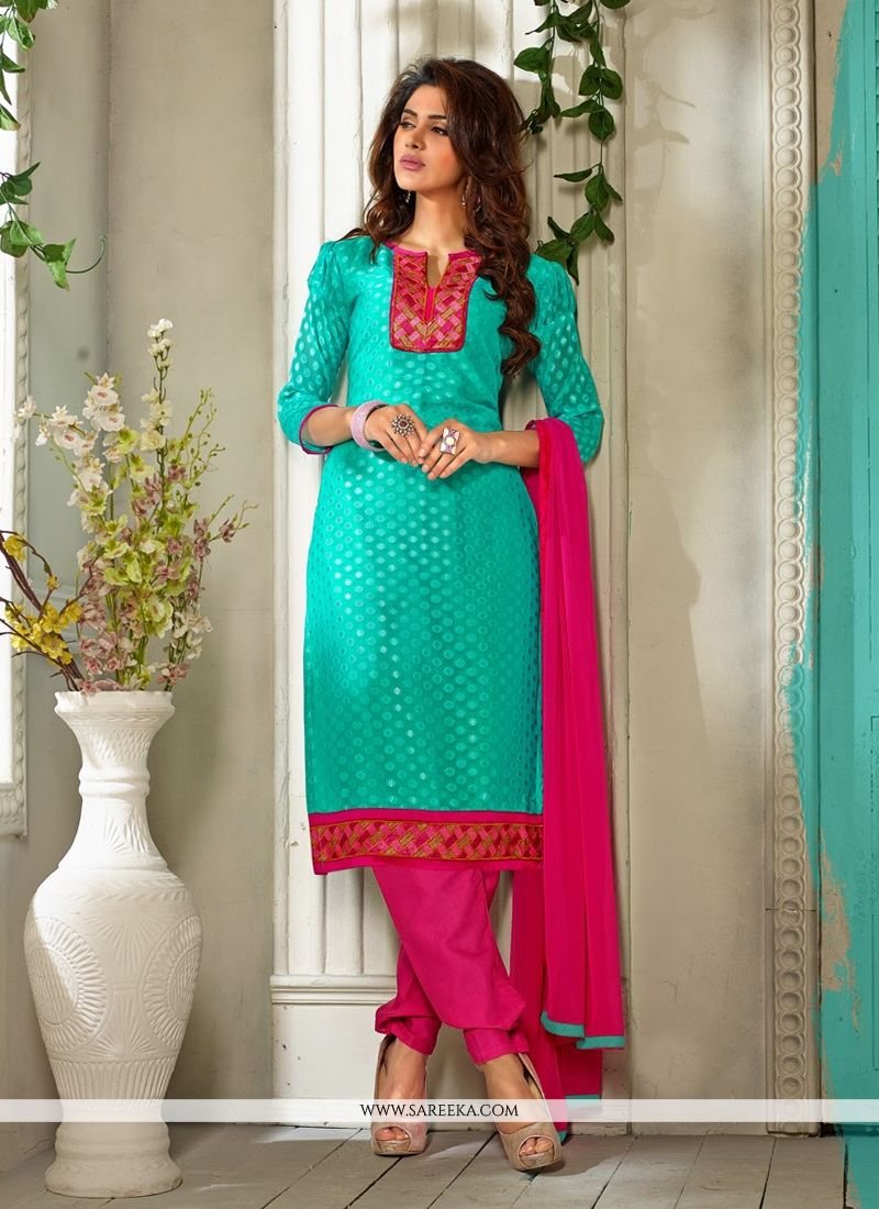 Turquoise Blue Pure Jacquard Churidar Suit