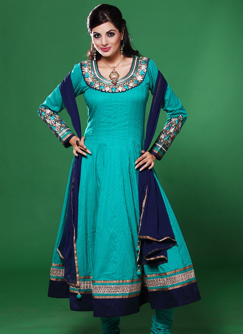 Turquoise Blue Resham Work Anarkali Salwar Suit