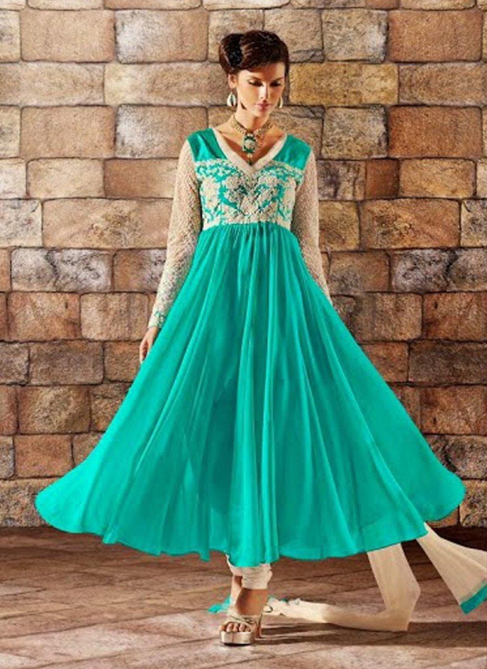 Turquoise Blue Resham Work Georgette Anarkali Salwar Suit