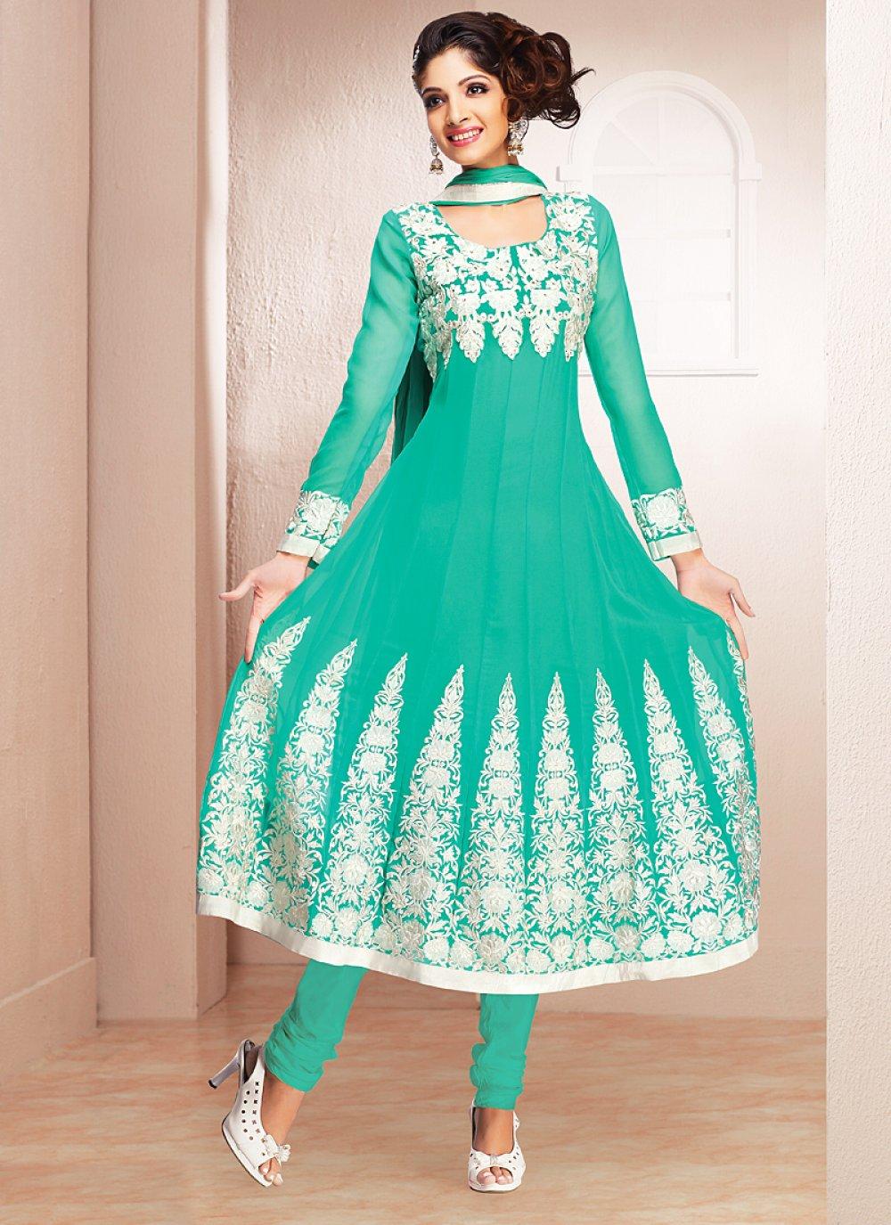Turquoise Blue Resham Work Georgette Anarkali Suit