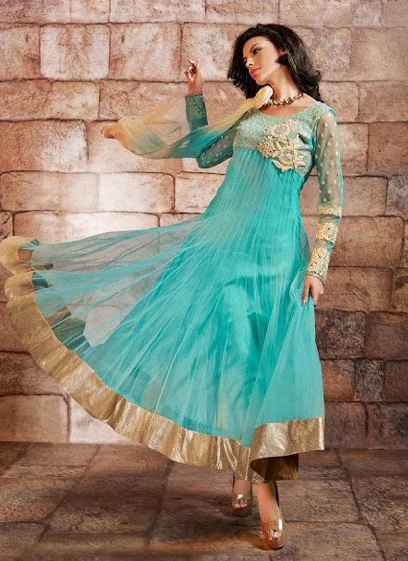 Turquoise Blue Resham Work Net Anarkali Suit