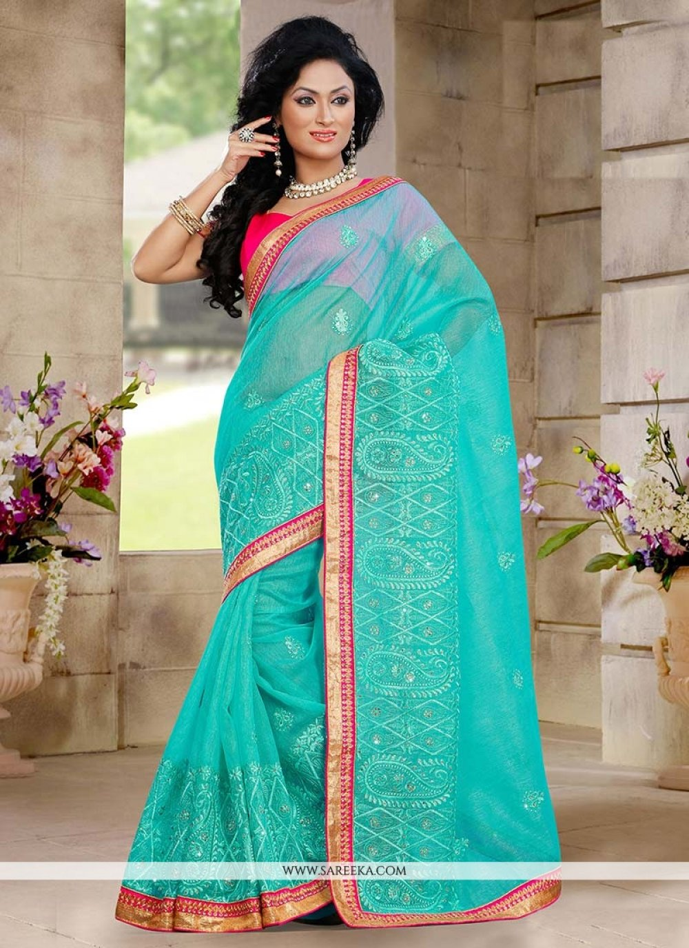 Turquoise Blue Shaded Net Saree