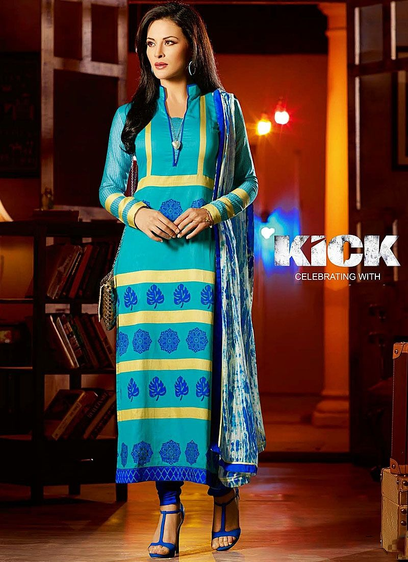 Turquoise Cotton Printed Kick Movie Churidar Suit