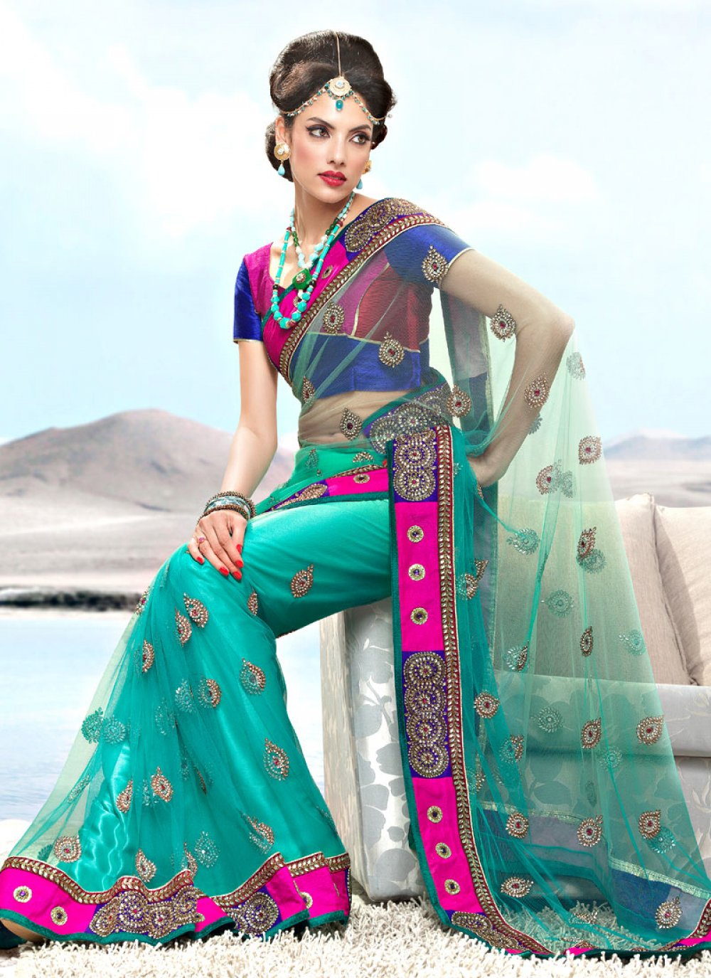 Turquoise Net Saree