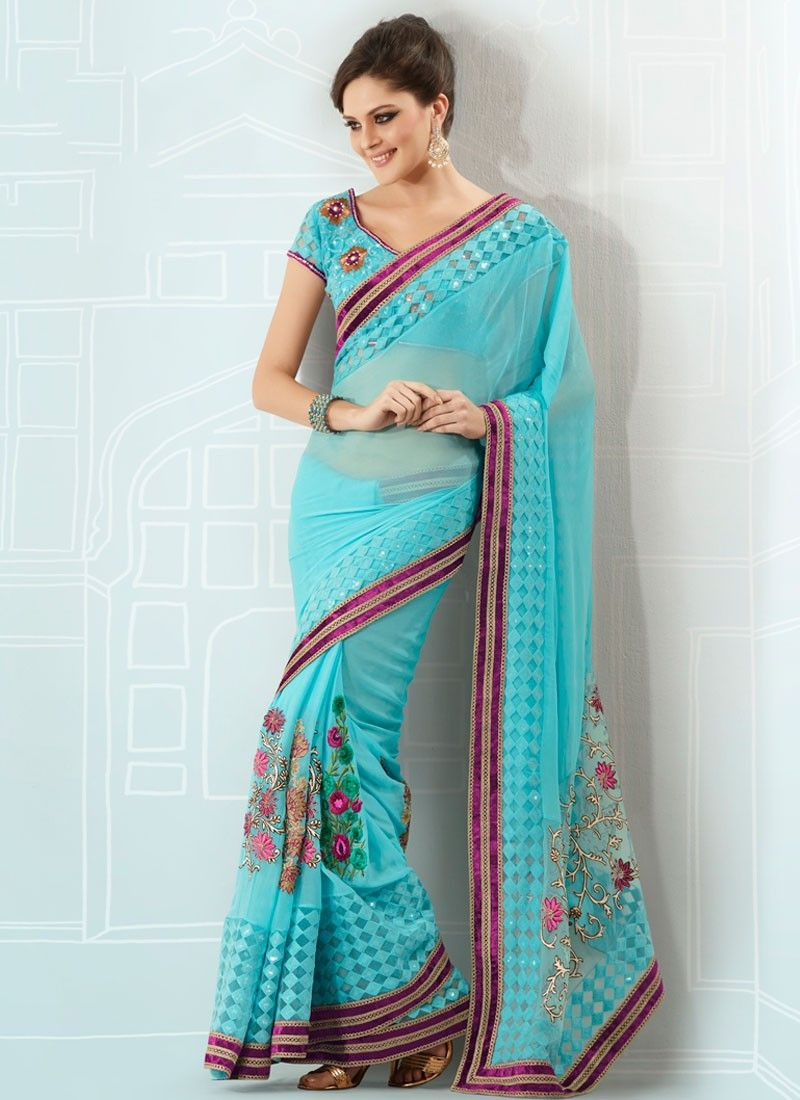 Turquoise Resham Embroidered Georgette Saree