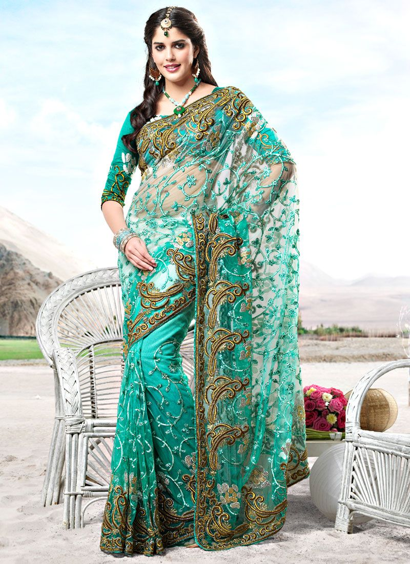 Turquoise Resham Enhanced Net Saree
