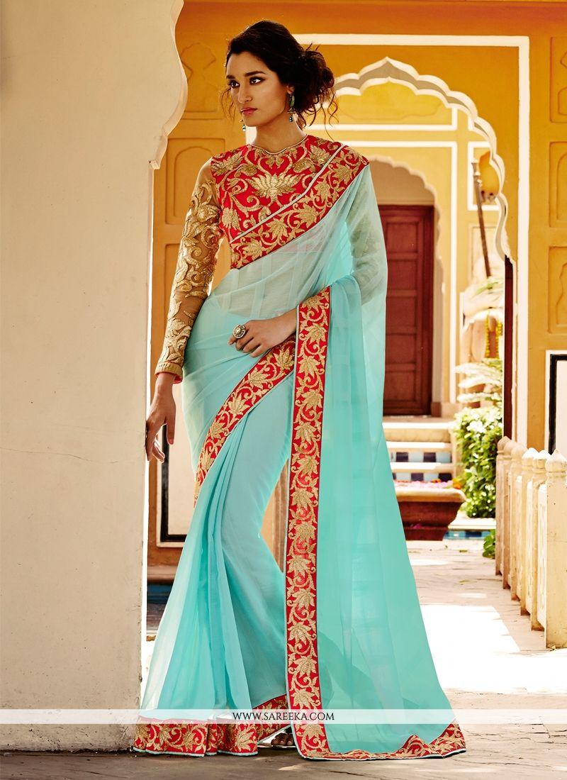 Turquoise Resham Work Chiffon Satin Designer Saree