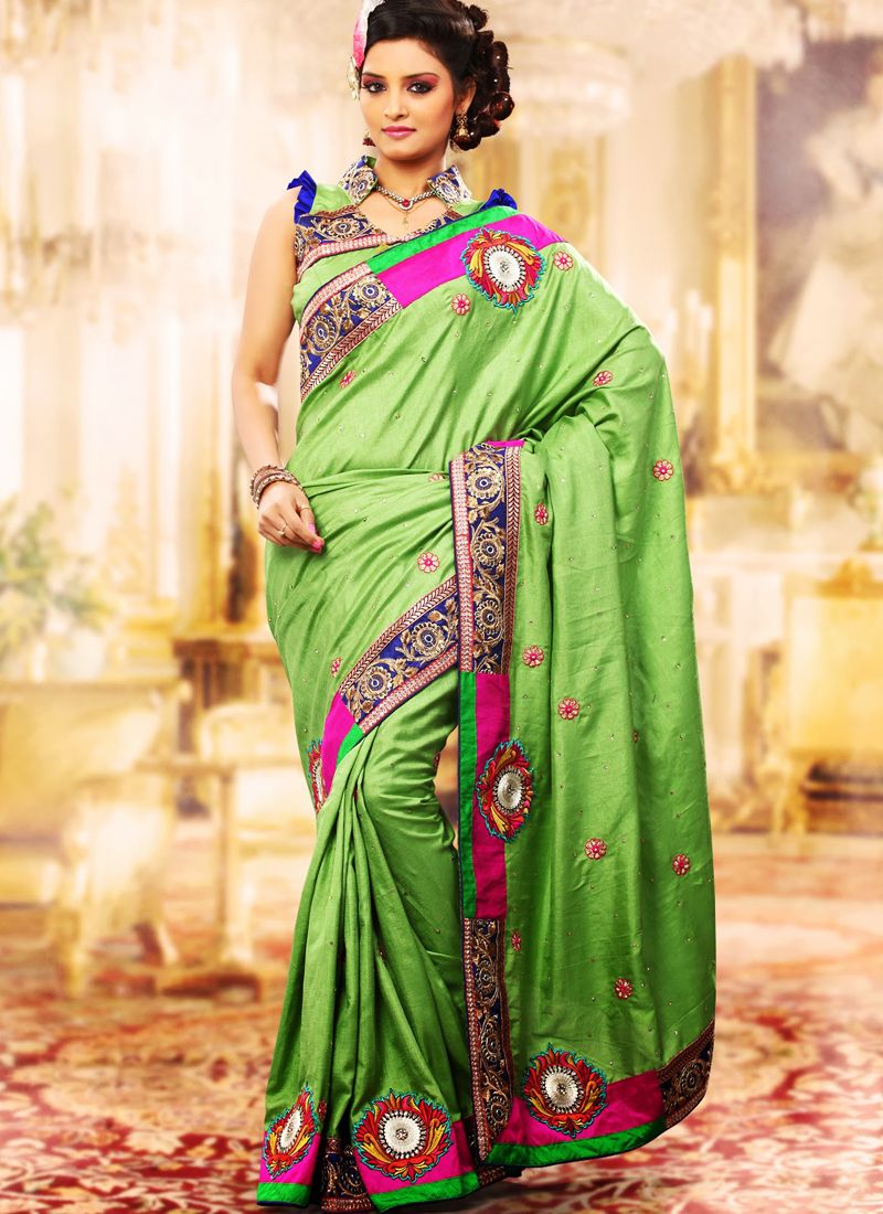 Aloe Vera Green Embroidered Saree