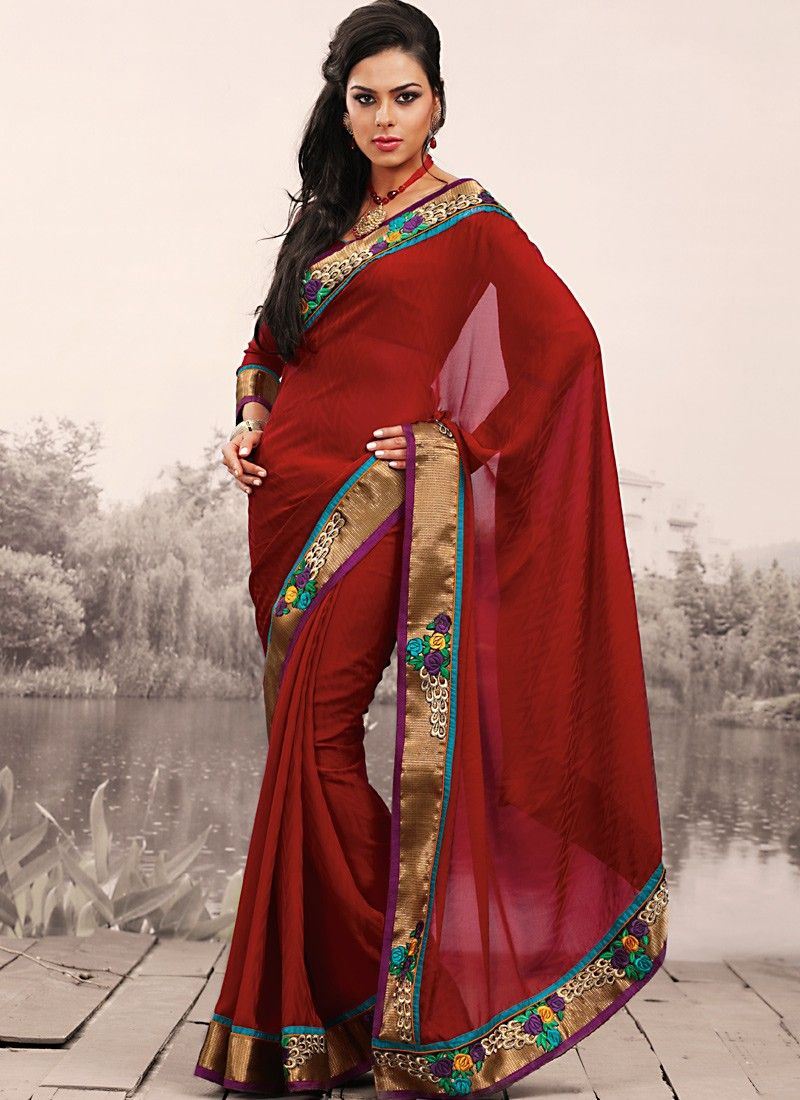 Bick Red Embroidered Saree