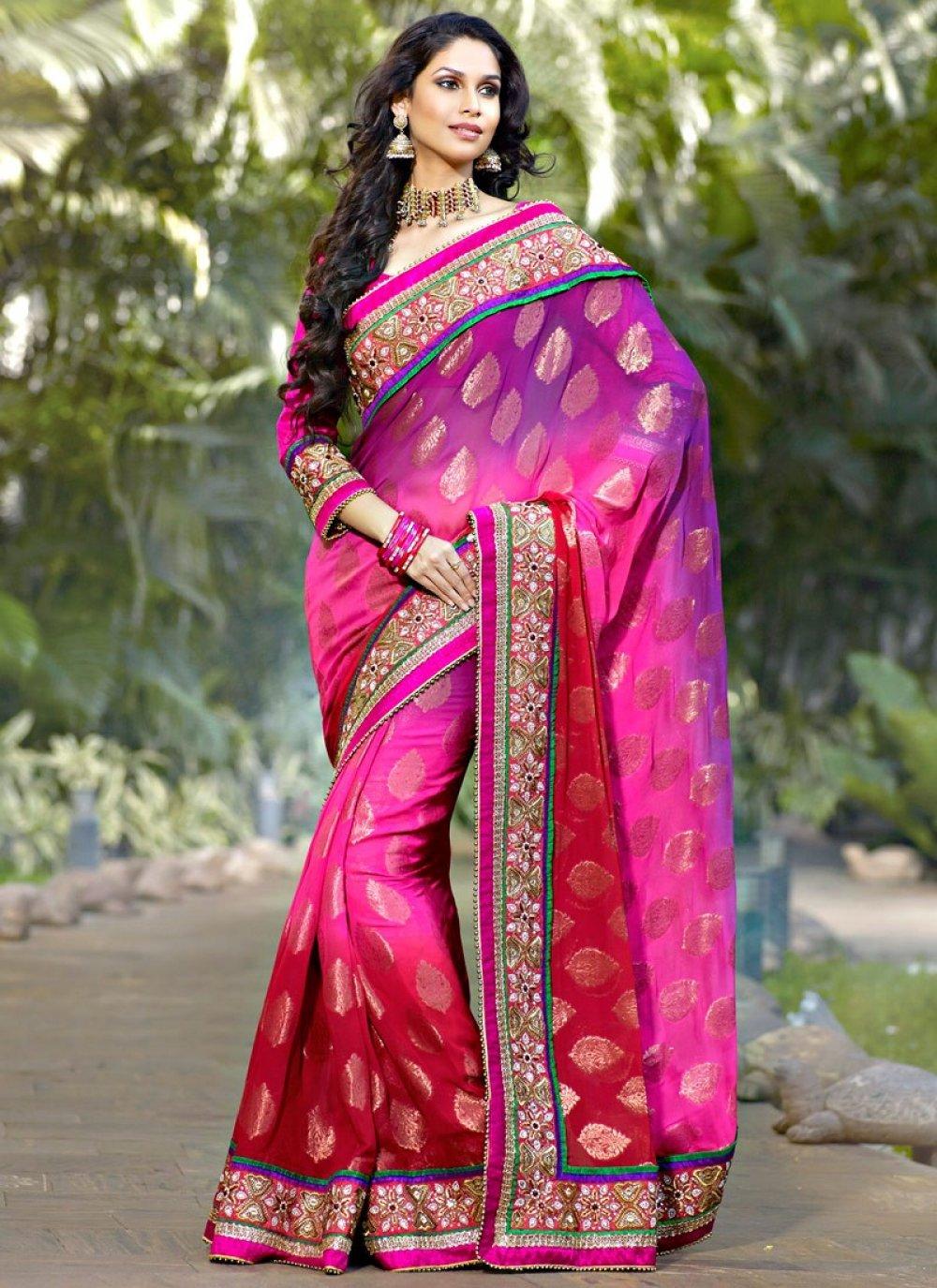 Brick Red & Deep Pink Embroidered Saree