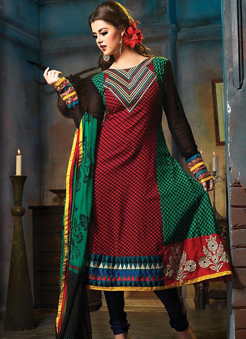 Brick Red & Emerald Green Salwar Kameez