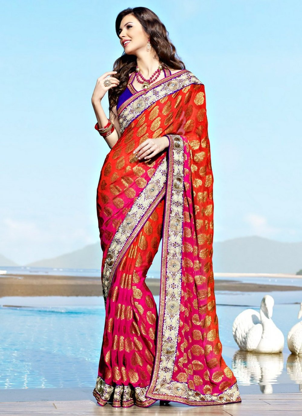 Coral & Deep Pink Embroidered Saree