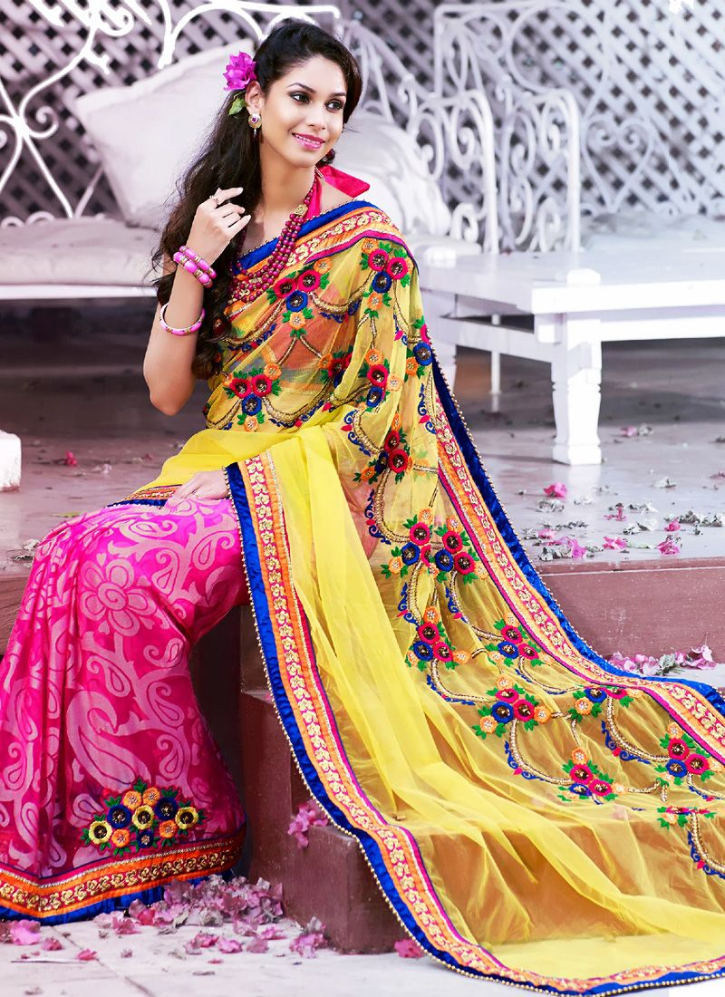 d317b42f3ee1e8 Hot pink,Yellow Embroidered Saree -