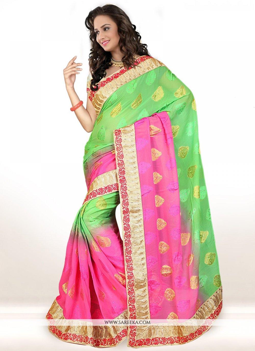 Viscose Hot Pink and Green Designer Saree